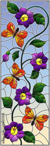 Ilustracja w witrażu stylu z abstrakcjonistycznymi kędzierzawymi purpura kwiatami i pomarańczowym motylem na nieba tle, pionowo wizerunek