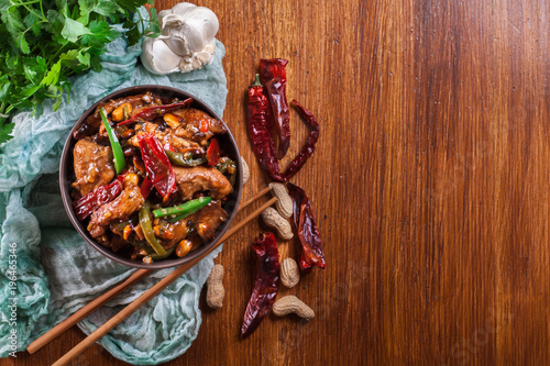 Homemade Kung Pao chicken with peppers and vegetables - 196465346