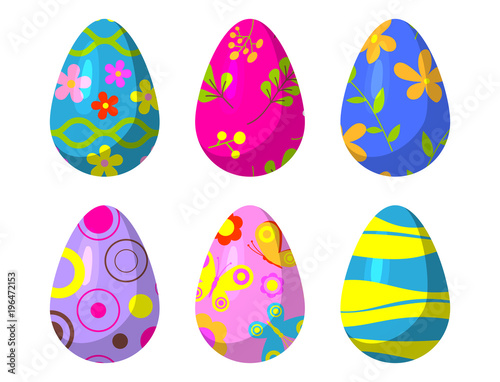 Easter eggs vector painted with spring pattern decoration retro multi colored vintage ornament organic food holiday game symbol illustration. - 196472153