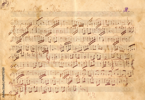 Antique Music Sheet Texture - Vintage Paper Texture Background - 196475369