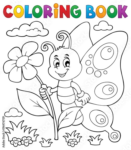 Fotobehang Voor kinderen Coloring book happy butterfly topic 4