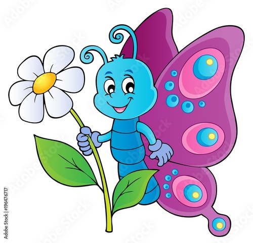 Fotobehang Voor kinderen Happy butterfly holding flower theme 1