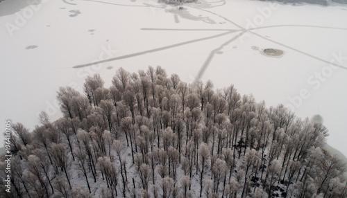 Foto op Canvas Grijs Aerial image of frozen river in forest