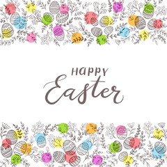 Colored circles with eggs and lettering Happy Easter on white background