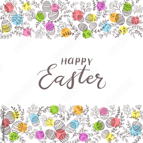 Colored circles with eggs and lettering Happy Easter on white background - 196484963