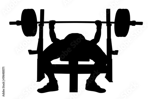 Male Athlete Powerlifter Bench Press Black Silhouette Buy Photos