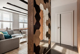 Home interior with wooden wall - 196494538