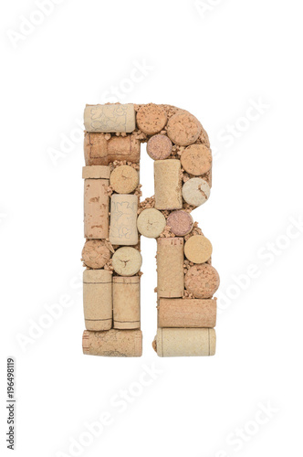 Foto Murales Alphabet letter R from wine corks isolated on white background