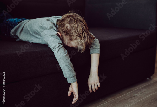 stressed tired exhausted child - 196500326