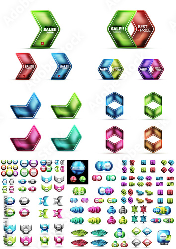 Mega collection of glossy geometric shiny glass geometric sale buttons. Vector promo web boxes templates © antishock