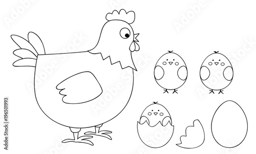 coloring page for children - vectors illustration with a hen and cute chicks, egg and egg shells