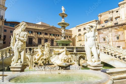 Palermo The Praetorian Fountain (Fontana Pretoria) in Palermo in Sicily, Italy