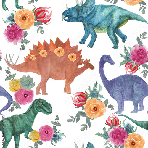 Watercolor painting seamless pattern with dinosaurs and floral bouquets - 196505132