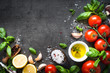 Ingredients for cooking. Food background top view. - 196505302