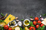 Italian Food background on black stone table. Top view. - 196505373