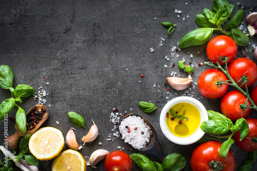 Wall mural Ingredients for cooking. Food background top view.