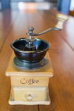 Vintage classic coffee grinder mill on wooden table - 196507911