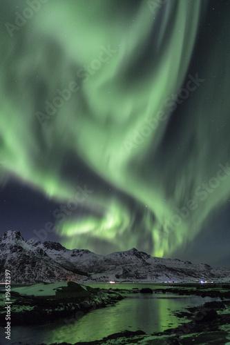 Plexiglas Noorderlicht Polarlichter über den Lofoten, Norwegen