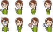 女性の表情パターンイラスト素材