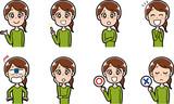 女性の表情パターンイラスト素材 - 196513346