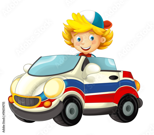 cartoon scene with happy child - boy in toy ambulance car on white background - illustration for children - 196514715