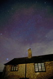 Old stone house in East Devon at starry night