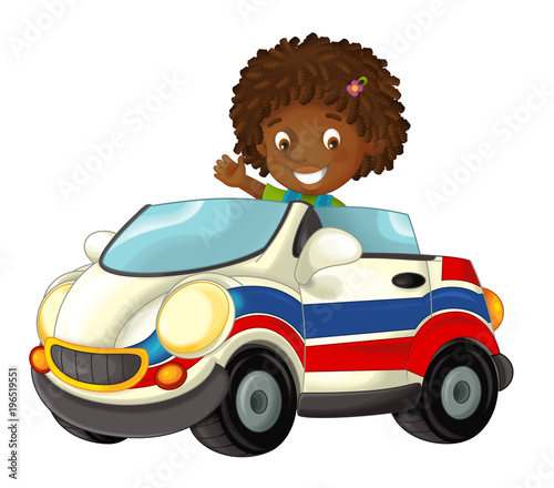 cartoon scene with happy child - girl in toy ambulance car on white background - illustration for children - 196519551