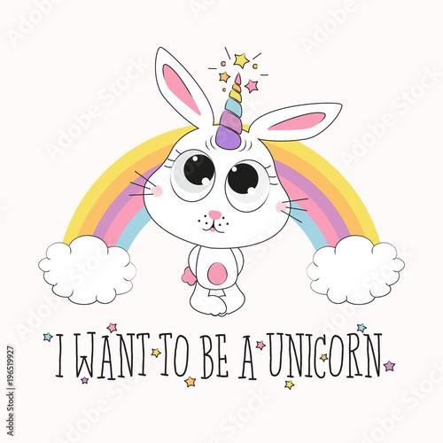 cute rabbit unicorn illustration