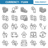 Currency - Yuan Icons. Professional, pixel perfect icons depicting various currency, finance and money ( yuan/yen ) concepts. EPS 8 format.