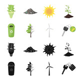 A garbage can, a diseased tree, a wind turbine, a key to a bio car.Bio and ecology set collection icons in black,cartoon style vector symbol stock illustration web. - 196525911