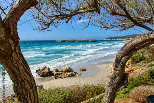 Fotobehang Tropical strand menorca son bou beach on a sunny spring day. balearic islands, spain