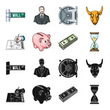 Bank, business schedule, bundle of notes, time money. Money and Finance set collection icons in black,cartoon style vector symbol stock illustration web.