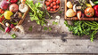 Organic vegetables healthy nutrition concept on wooden background - 196527136