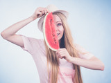 woman holding watermelon fruit