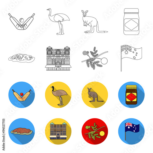 Deurstickers Bol The palace of Queen Victoria, Mount Uluru, a flower of a mimosa, a national flag.Australia set collection icons in outline,flet style vector symbol stock illustration web.