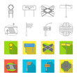 Direction signs and other web icon in outline,flet style.Road junctions and signs icons in set collection.