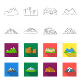 Mountains in the desert, a snowy peak, an island with a glacier, a snow-capped mountain. Different mountains set collection icons in outline,flet style vector symbol stock illustration web. - 196527944