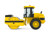 Yellow Road Roller Isolated - 196528348