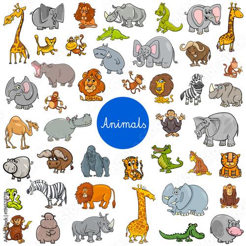 Wall mural wild animal characters big set