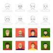 The appearance of the young guy, the face of a bald man with a mustache in his glasses. Face and appearance set collection icons in outline,flet style vector symbol stock illustration web.