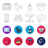 Chair on rollers, needles for tattoo and other equipment. Tattoo set collection icons in outline,flet style vector symbol stock illustration web. - 196529135
