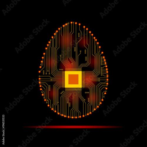 Streszczenie jaj. Jajko w obwodzie elektronicznym. Ilustracji wektorowych.