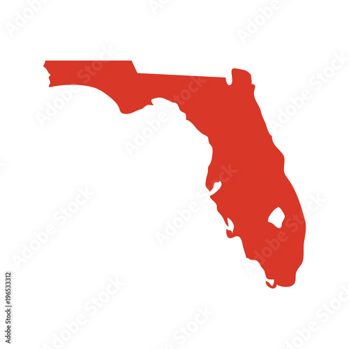 Elevation Map Of Florida.State Of Florida Vector Map Silhouette Outline Ny Shape Icon Or