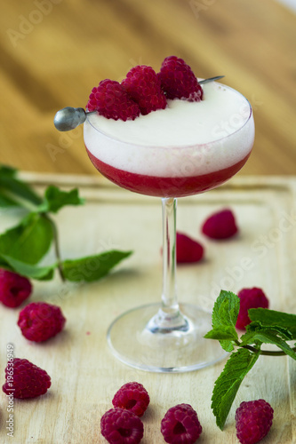 Wall mural  berry, bright, summer cocktail with raspberries