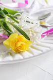 Spring holiday Easter table setting, - 196539576