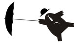 Funny man wearing a bowler hat holds an umbrella stays on the strong wind black on white illustration - 196539583