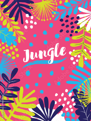 Colorful Jungle Vector Banner Template