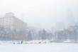 Heavy snowing over Olympic plaza, Calgary Canada
