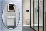 Piękna nowoczesna łazienka z kabiną prysznicową, lustrem i umywalką. - 196542968