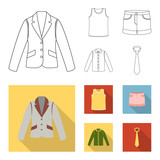 Shirt with long sleeves, shorts, T-shirt, tie.Clothing set collection icons in outline,flat style vector symbol stock illustration web. - 196548546